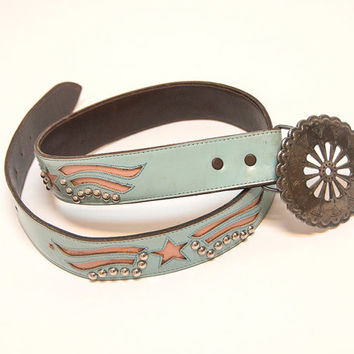 Light Blue Patriotic Studded Leather Belt w/ Southwestern Sterling Silver Large Buckle | Stars Stripes Hipster 80s Boho Western Biker Belt