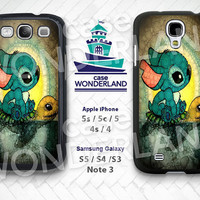 Stitch and Turtle S3 S4 S5 Case, Disney Galaxy S3 S4 S5 Hard Rubber Case, Stitch Galaxy S3 S4 S5 Note3 - ST01