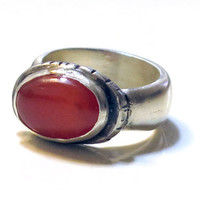 Carnelian Silver Ring, Oval Stone Ring, Silver Carnelian, Sterling Stone Ring, Orange Red Ring, Orange Stone Ring, Hand Made Ring,