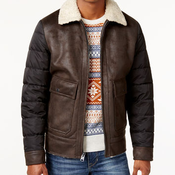Buffalo David Bitton Mens Big & Tall Faux Leather Bomber Jacket
