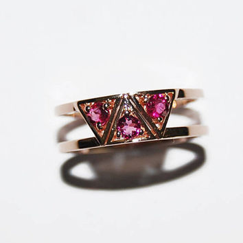18k rose gold pink tourmaline triangle ring