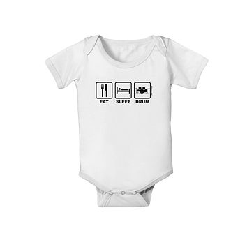 Eat Sleep Drum Design Baby Romper Bodysuit by TooLoud
