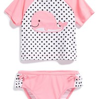 Infant Girl's Little Me 'Whale' Two-Piece Rashguard,