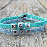 BAE Bracelets for Couples, Before Anyone Else, Light Blue and Teal Handmade Hemp Jewelry