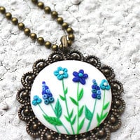 Clay embroidery pendant, Blue flowers necklace, Embroidery necklace, Field flowers pendant, Antique bronze cabochon, Round flowers pendant