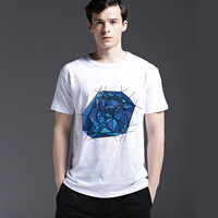 Stylish Men's Fashion Strong Character Cotton Blue Casual Summer Tee Short Sleeve Fashion Pattern T-shirts = 6451743299