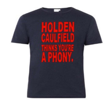 Holden Caulfield, phony, catcher in the rye, Salinger, classic lit, English teacher, nerd, geek, graphic tee, adult shirt, phonies