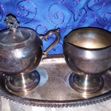 Crosby Silverplated Oval Shaped Tray, Creamer and Sugar Bowl