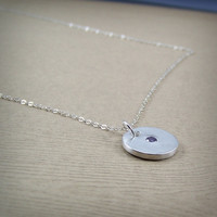 Circle Amethyst CZ Necklace