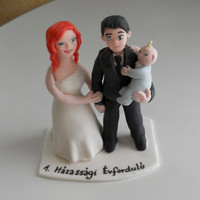 Wedding Couple with a baby fondant cake topper