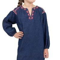 Flying Tomato Girl's Denim with Aztec Embroidery Long Sleeve Dress