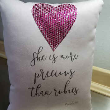 Throw pillow scripture pillows pink cotton cushion gift for her