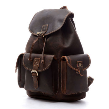 Handcrafted Leather Briefcase / Messenger / Laptop / Men's Bag in Brown leather Men's backpack  school bags