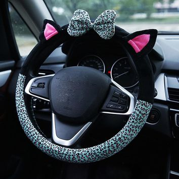 Universal Car Steering Wheel Cover Anti-Slip Leopard Pattern Plush - 38cm