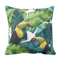 Toucans Tropical Banana Leaves Pattern Throw Pillow