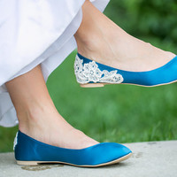 Teal Blue Wedding Flats, Blue Wedding Shoes with Ivory Lace. US Size 9