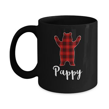 Red Pappy Bear Buffalo Plaid Family Christmas Pajamas Mug