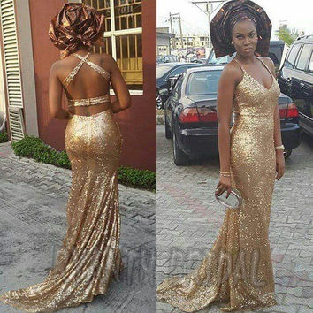FG79 Sexy Halter Gold Sequined Long Mermaid Prom Dresses 2016 Custom Made Robe de soiree  Backless African Party Evening Dress