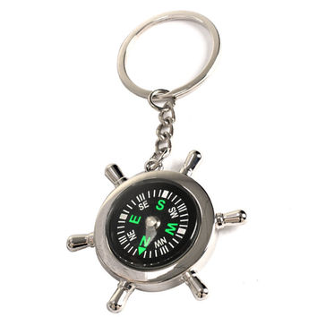 Wheel Shape Brass Watch Style Ring Keychain Compass Outdoor Camping Hiking Key Ring Compass     B2C Shop
