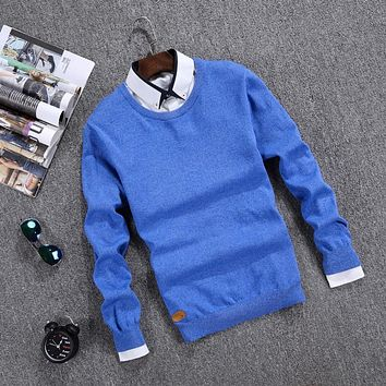 Spring and Autumn Solid Sweater Men brand O Neck Casual Sweaters men cotton Pullover Men Long Sleeve cardigan men brand clothing