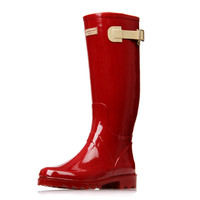 Red Ladies Waterproof Rain Boots Women Rubber Breathable Fashion Knee High Anti-slip Rainboots Water Shoes Female Botas Quality