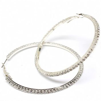 Valenna's 2.25 Inch Thin Rhinestone Hoop Earrings - As Seen in Brides Magazine