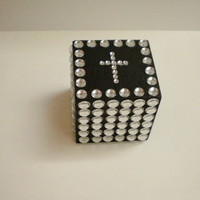 "BLING CUBE PAPERWEIGHT - Decorative 2"" Cube w/ Bling Cross in Clear Rhinestones for Desktop/Tabletop"
