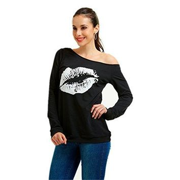 TYFeng Womens Sexy Pullover Lips Print Casual Off The Shoulder Slouchy Shirt