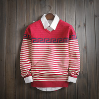 Mens Warm Slim Fit Knitwear Striped Sweater