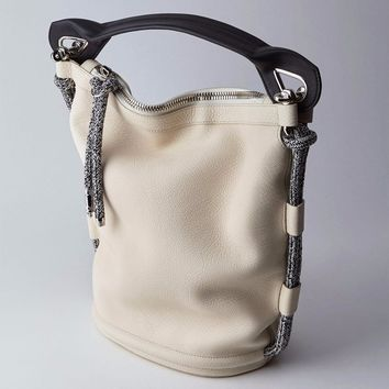 Two-Tone Rope Leather Shoulder Bag by Acne Studios