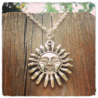 Handmade Antique Smiling Sun Necklace