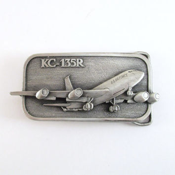 Vintage KC-135R Belt Buckle, 1985 Boeing Aircraft Belt Buckle, Military Buckle, U.S. Air Force Belt Buckle, Men's Belt Buckle, Plane Buckle