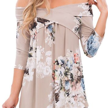 Fashion Gray Floral Crisscross Off Shoulder Top