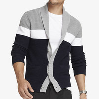 RIBBED BLOCK STRIPE SHAWL COLLAR CARDIGAN from EXPRESS
