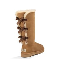 """UGG"" Women Fashion Wool Snow Boots Calfskin Shoes cute three bowknot  Chestnut"