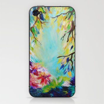 BLISS - Stunning Bold Colorful Idyllic Dream Floral Nature Landscape Secret Garden Acrylic Painting iPhone & iPod Skin by EbiEmporium | Society6