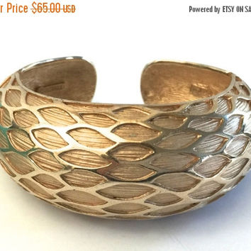 Fall Sale Marcel Boucher Hinged Cuff, Raised Design, Textured Gold Tone Hinged Cuff