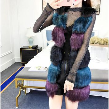 2017 winter women new Korean imitation fox fur vest fur temperament mixed color fur coat