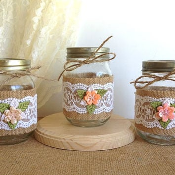 3 piece burlap and lace covered jars, wedding deocrations, bridal shower decor, home decor gift or for you, vase or candle holder.