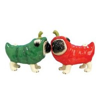 Westland Giftware Pug-nacious Magnetic Chili Pepper Pugs Salt and Pepper Shaker Set, 3-1/4-Inch