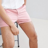 ASOS DESIGN Skinny Shorter Shorts In Pastel Pink at asos.com
