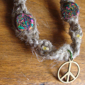 Hemp Psychedelic Peace Sign Necklace by IzzaBean on Etsy