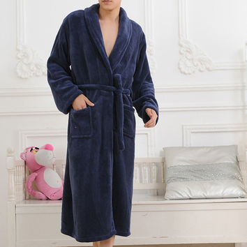 Hot Sale Hot Thicken Coral Flannel Bath Robe Winter Autumn Casual Nightgown Long Bathrobe Men Women Sleepwear Robes