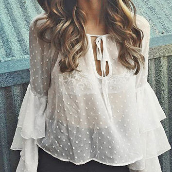 White Tie Front Ruffle Flared Sleeve Sheer Blouse