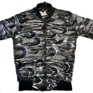 Mondo Men's Black Sequin Spiral Bomber Jacket