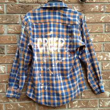 Plaid flannel Creep bleached shirt // soft grunge// grunge large