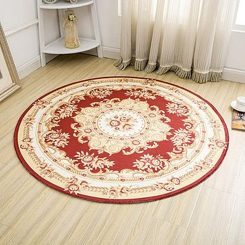 Round Jacquard Countryside Carpets For Living Room Flower Bedroom Rugs And Carpets Computer Chair Floor Mat Cloakroom Area Rug