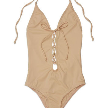 Front Laced Blush One Piece Swimsuit