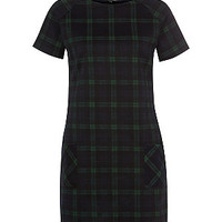 Navy and Green Tartan Check Shift Dress