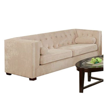 Almond Color Velvet Microfiber Button Tufted Sofa